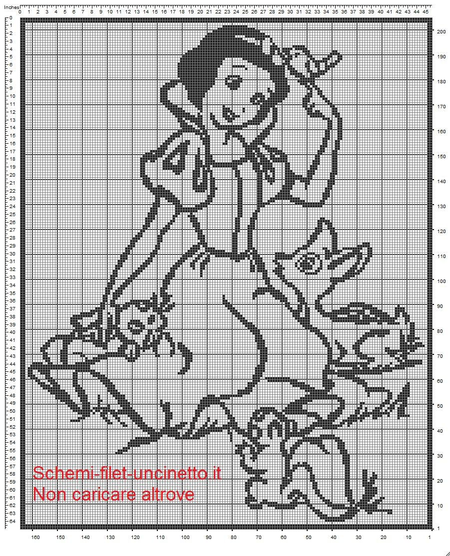 Biancaneve schema copertina lettino con sponde filet uncinetto ...