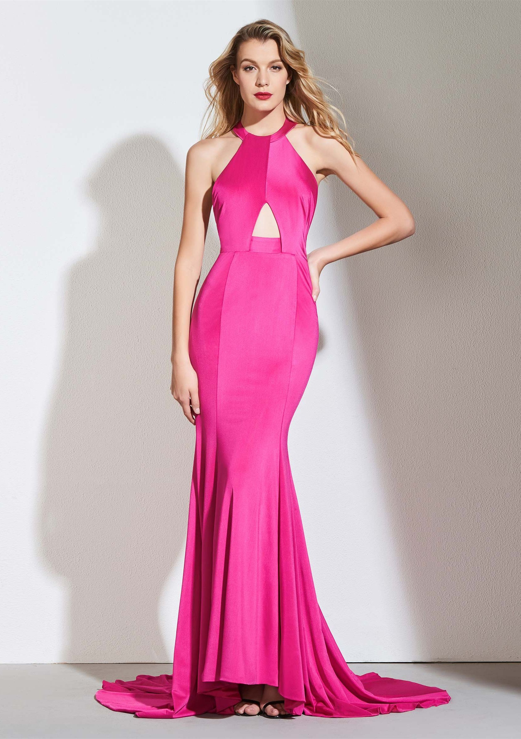 Mermaid halter hollow backless evening dress in lit prom