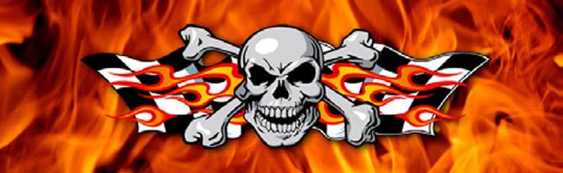 Skull and flames rear window graphic