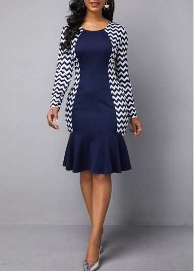 Wedding Guest Dresses Round Neck Long Sleeve Geometric Print Dress 3