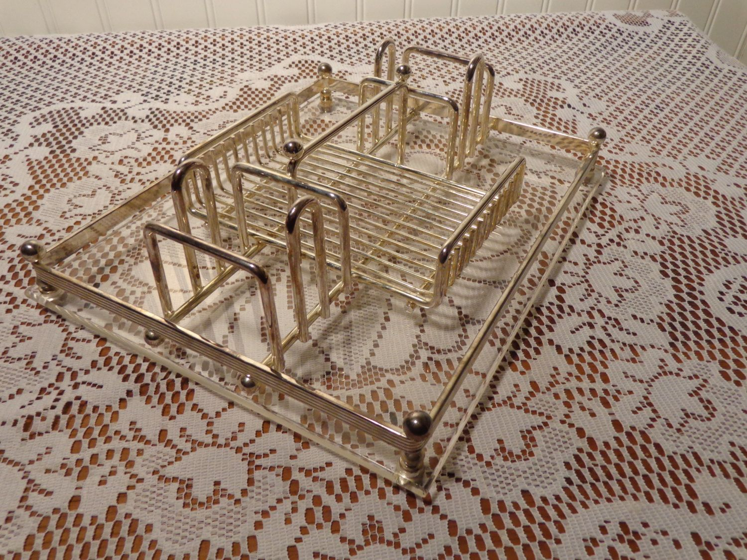 Vintage Silver Plate Buffet Caddy by Davco - Silver Flatware Holder ...