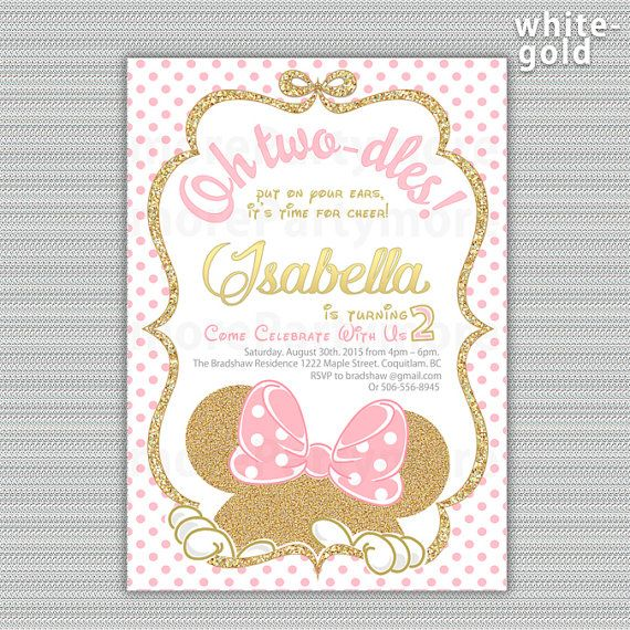 Pink and Gold Minnie Mouse Birthday Party Invitation, First 1st, 2nd Birthday, Gold Glitter