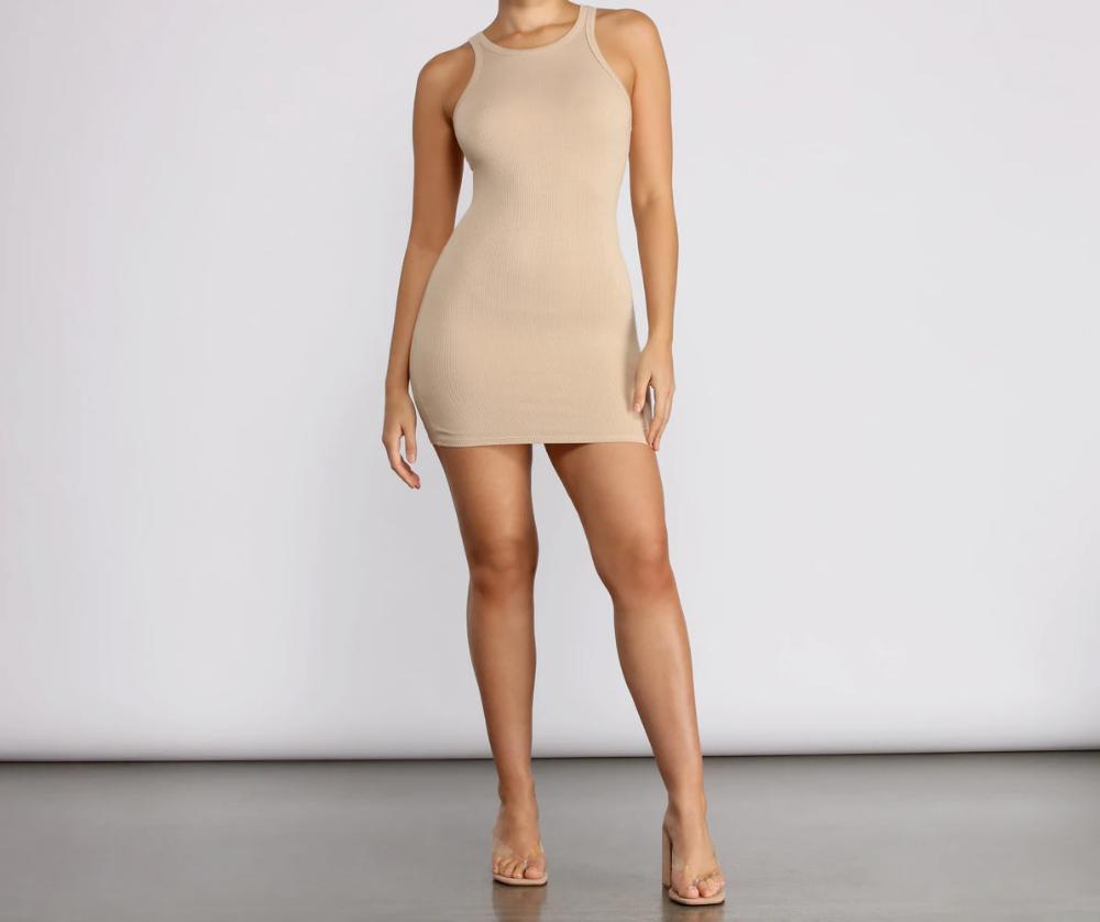 Ribbed Knit Crew Neck Bodycon Mini Dress Bodycon Mini Dress Mini Dress Jumpsuit Dress [ 838 x 1000 Pixel ]