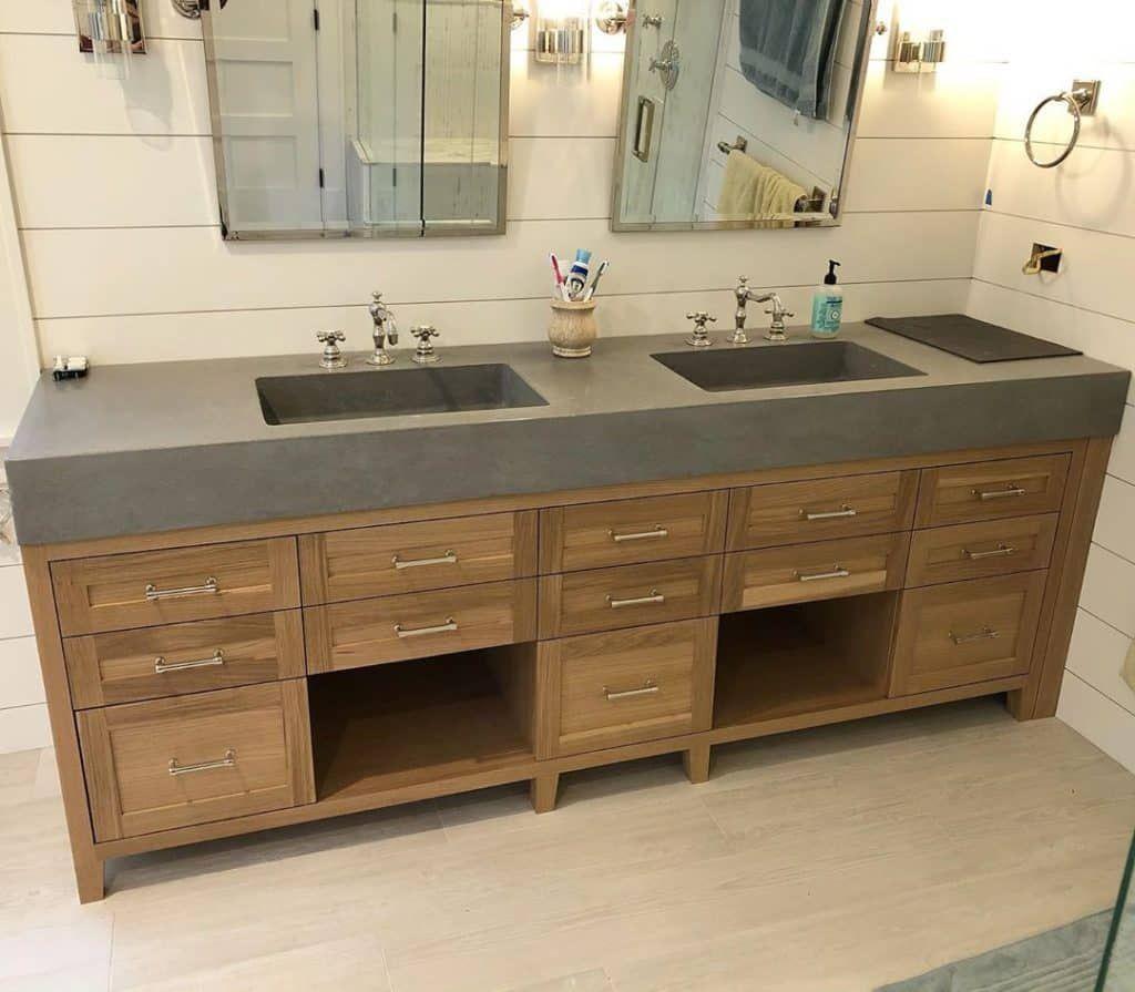 29 Bathroom Cabinet Ideas Most People Would Kill To Have Wood Bathroom Cabinets Bathroom Interior Design Double Sink Vanity [ 895 x 1024 Pixel ]