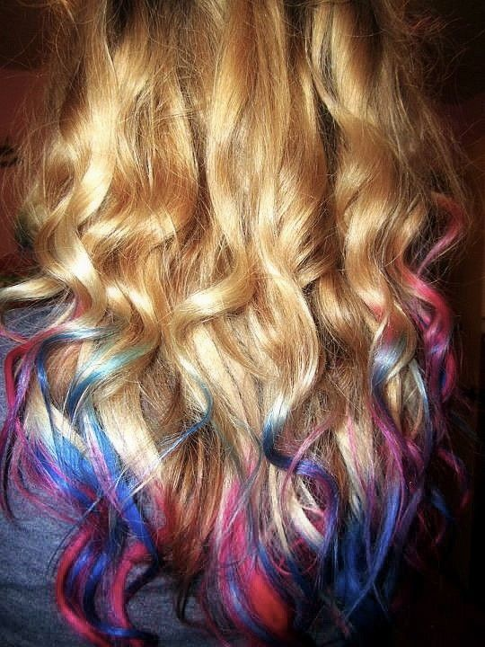 Curly Blonde Dip Dyed Blue And Pink Hair Colors Ideas Blonde Dip Dye Dipped Hair Colored Hair Tips