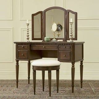 Powell Bordeaux Warm Cherry Vanity Mirror And Bench Spalni