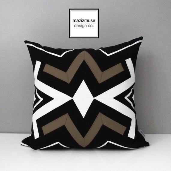 Decorative Outdoor Pillow Cover Geometric Brown Amp Black