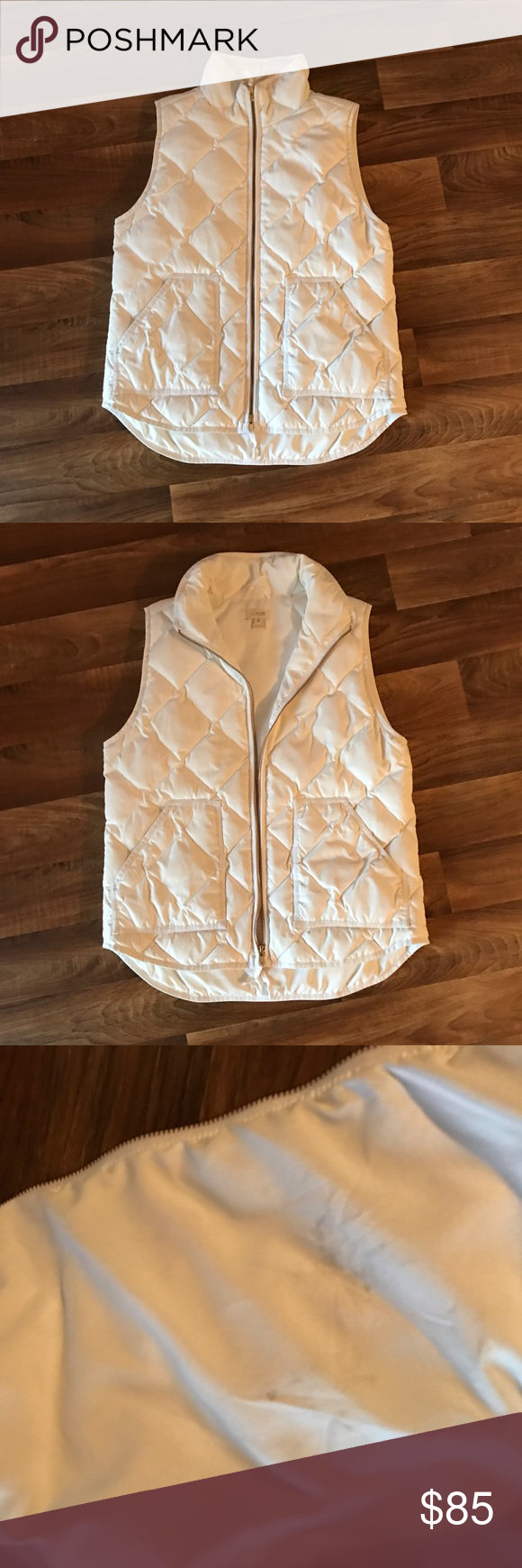 EUC - J.CREW: White Puffer Vest EXCELLENT USED CONDITION   > J.CREW - Classic White Puffer Vest <   -In almost perfect condition  -Two small light black stains on the inside (as noted in pictures above) - can most likely be removed with spot treatment and wash  -Dry cleaning is recommended BUT not necessary -Pure white color with full, functioning zipper  -Size medium, but runs a tad roomy, could fit a medium/large RETAIL:$115.00   -PLEASE READ ABOVE RULES-  Happy Poshing!! ✌🏻 J. Crew…