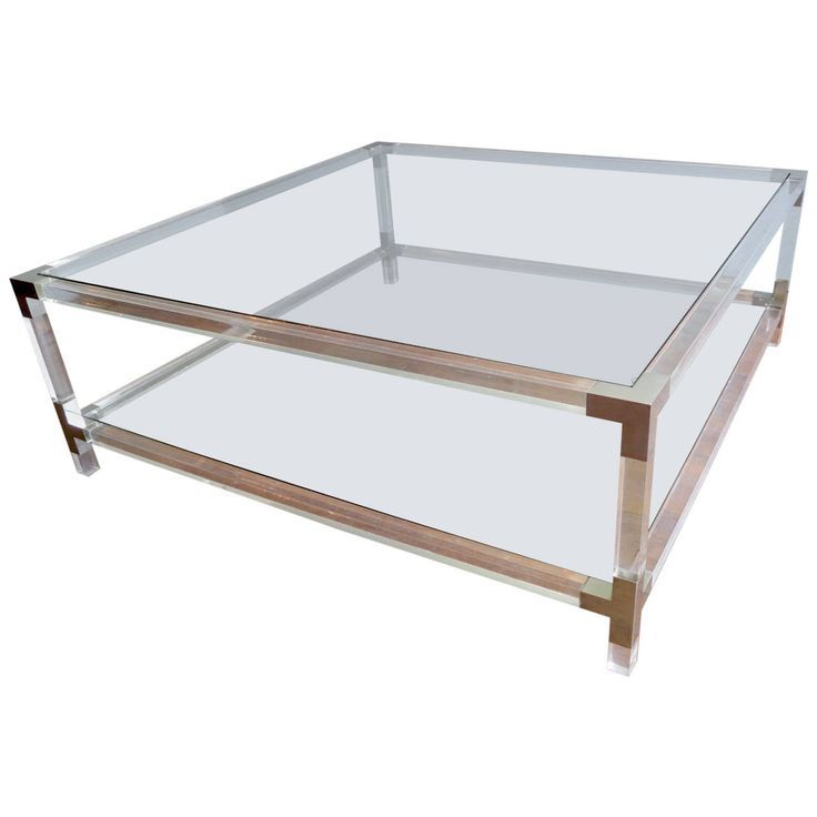 Image Result For 48 Inch Square Cocktail Tables With Bottom Shelf Glass Top Lucite Coffee Tables Table Home Decor