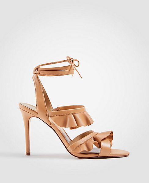 f176df72fc Shop Ann Taylor for effortless style and everyday elegance. Our Kristin  Leather Ruffle Heeled Sandals is the perfect piece to add to your closet.
