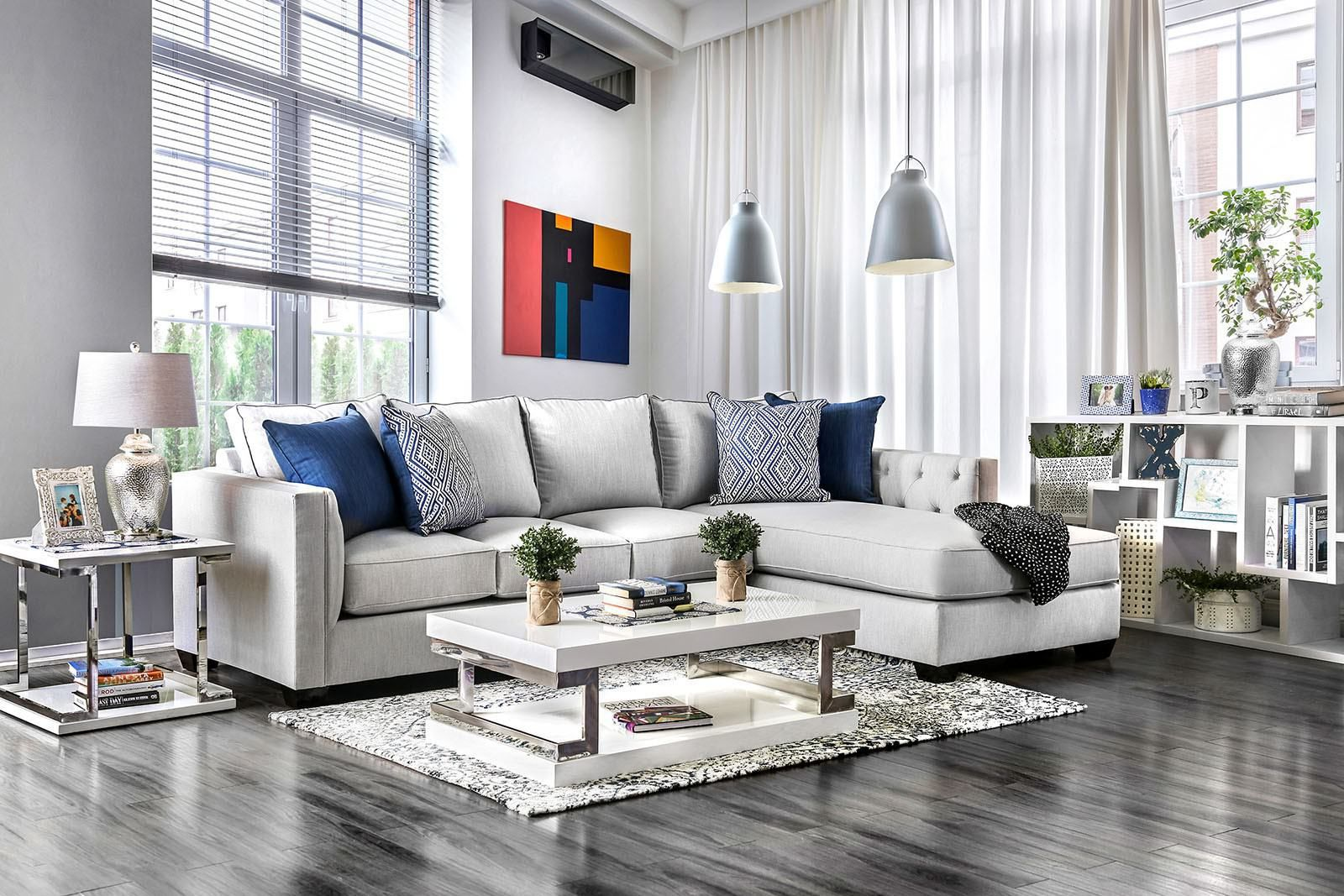 Grey is still very much an 'in' colour, so from furniture to paint, browse these grey living room ideas for inspiration. The Ornella Light Gray Upholstered Sectional by Furniture ...