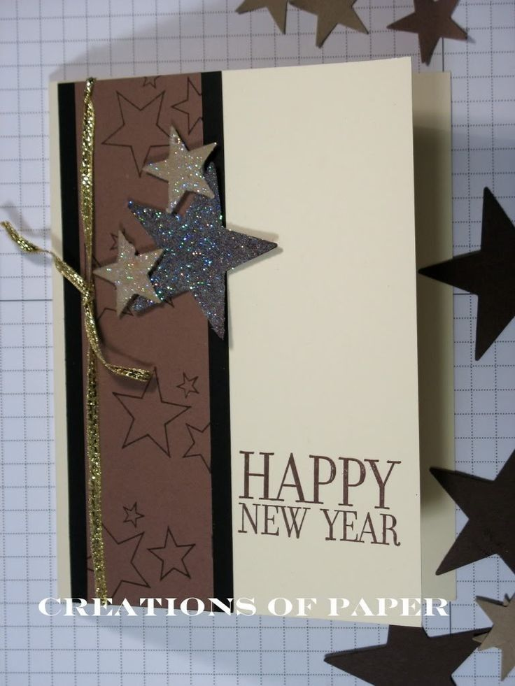 handmade shining stars happy new year wishes card for 2015 new year gift new year craft gold bow 2015 new year card