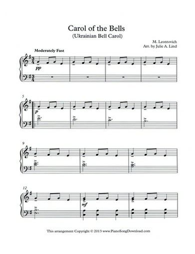 photo relating to Carol of the Bells Free Printable Sheet Music named Carol of the Bells Totally free Piano Tunes Piano Sheet Tunes inside