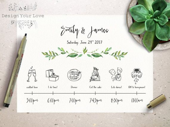 Wedding Timeline Printable Wedding Itinerary Template Green Weekend