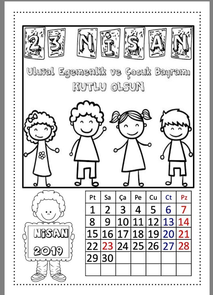 2019 Takvimi Cigdem Ogretmen Boyama Sayfalari Okul Oncesi Egitim