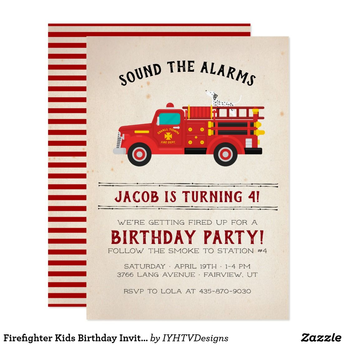 Firefighter Kids Birthday Invitation