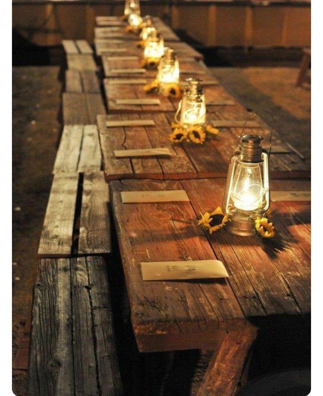 Barn wedding table settings  Bench Reclaimed Barn wood  Pinterest  Barn wood Wedding planning