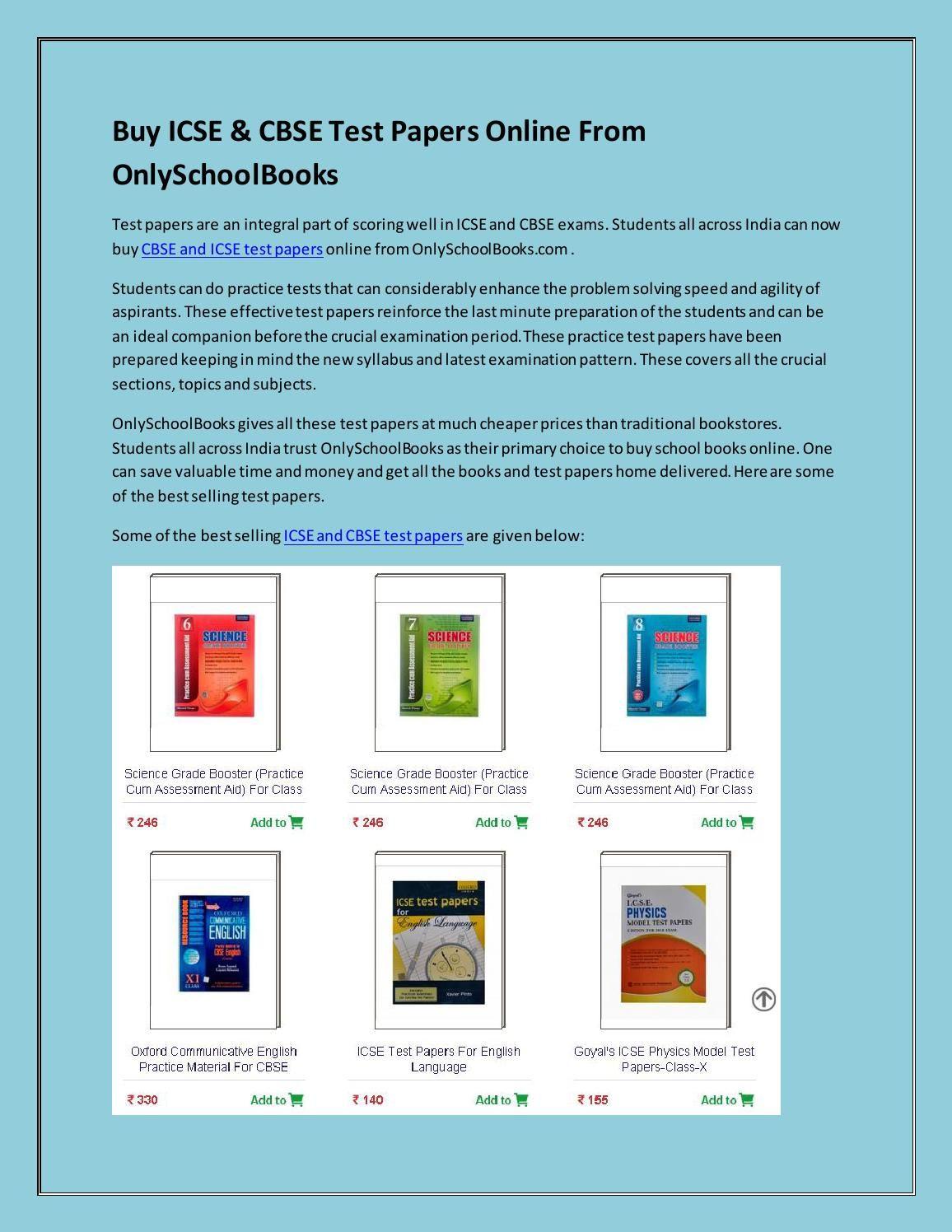 Buy ICSE & CBSE Test Papers Online From OnlySchoolBooks | Buy ...