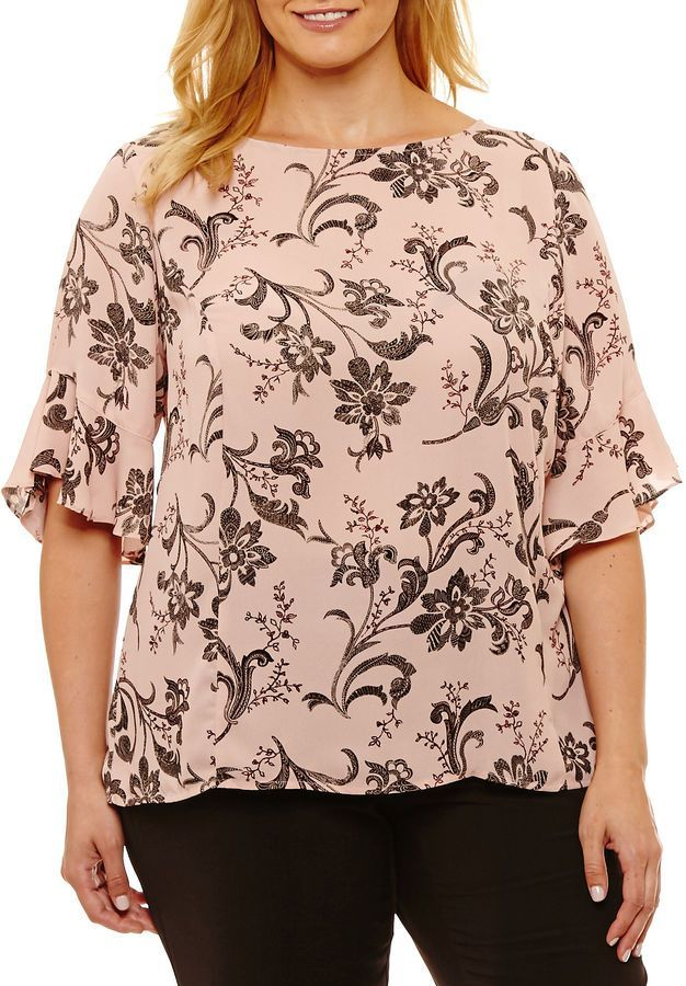 4b04f4dac7292d Liz Claiborne 3/4 Sleeve Crew Neck Georgette Blouse-Plus | Products ...