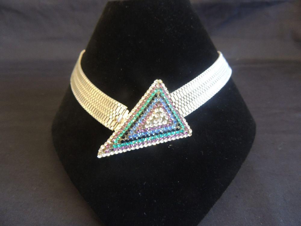 Vintage Silvertone Sonia DeMaria Italy Rhinestone Haute Couture Runway Necklace