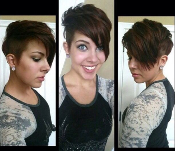 I\u0027m in love with this adorable undercut pixie haircut with long bangs!
