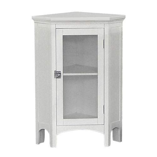 Madison Avenue White Corner Floor Cabinet Elegant Home Fashions Cabinets Linen Towers Ca Armoires Blanches