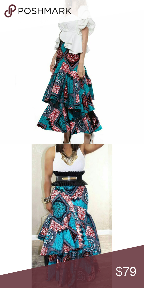 a1c546d9a74 Ankara Style African Print Layered Skirt 100% Polyester. Would look great  with a plain white tank top and fabulous necklace. No stretch.