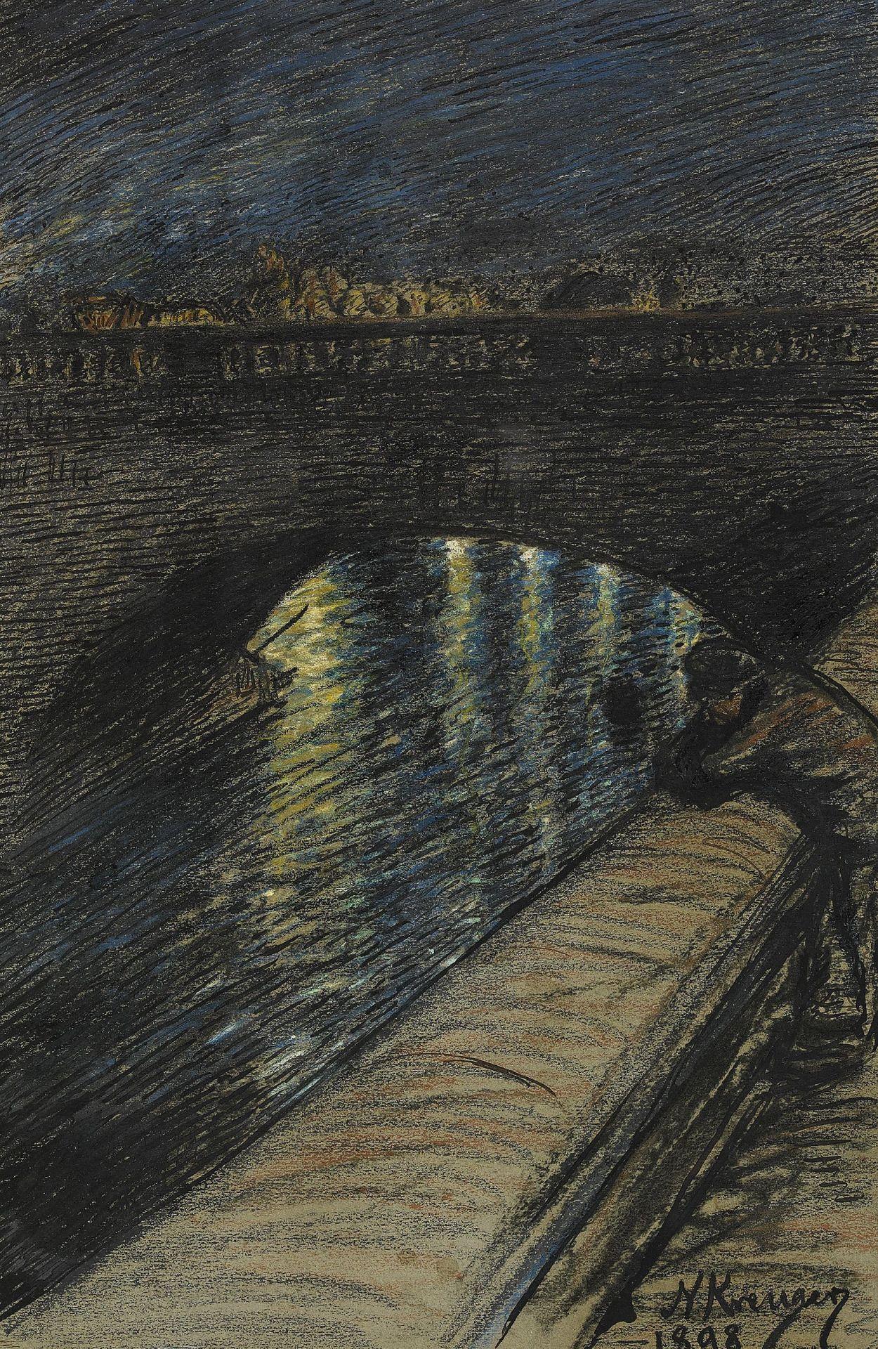 Nils Kreuger (1858-1930) - Skymning över Norrbo - Stockholm, 1898
