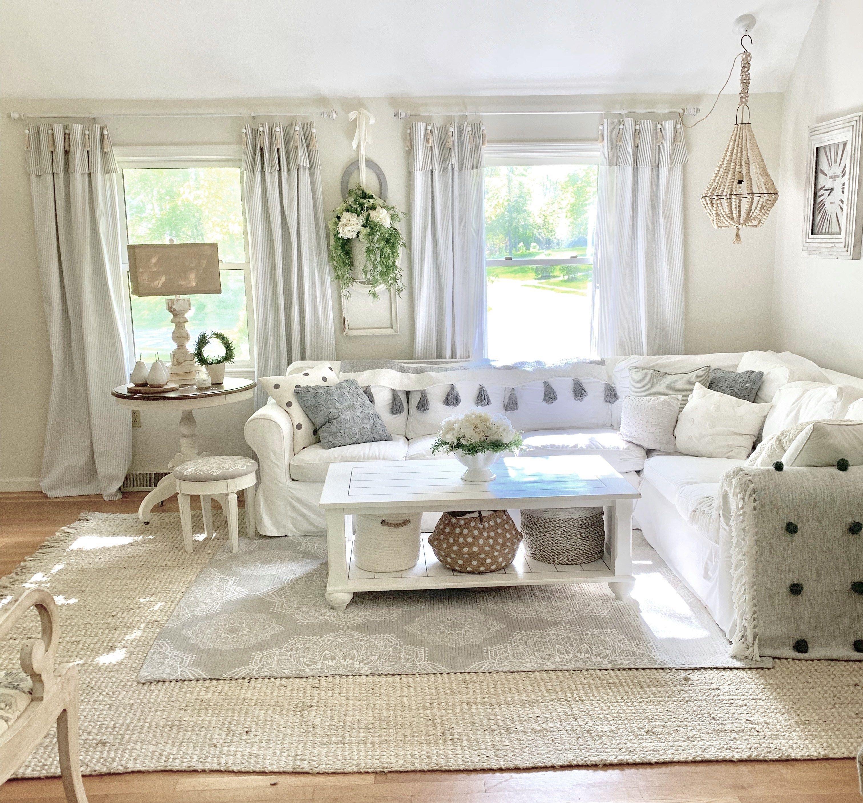 Diy Pottery Barn Inspired Tassel Ticking Stripe Curtains In 2020 Ticking Stripe Curtains Stripe Curtains Living Room Pottery Barn Curtains #pottery #barn #inspired #living #room