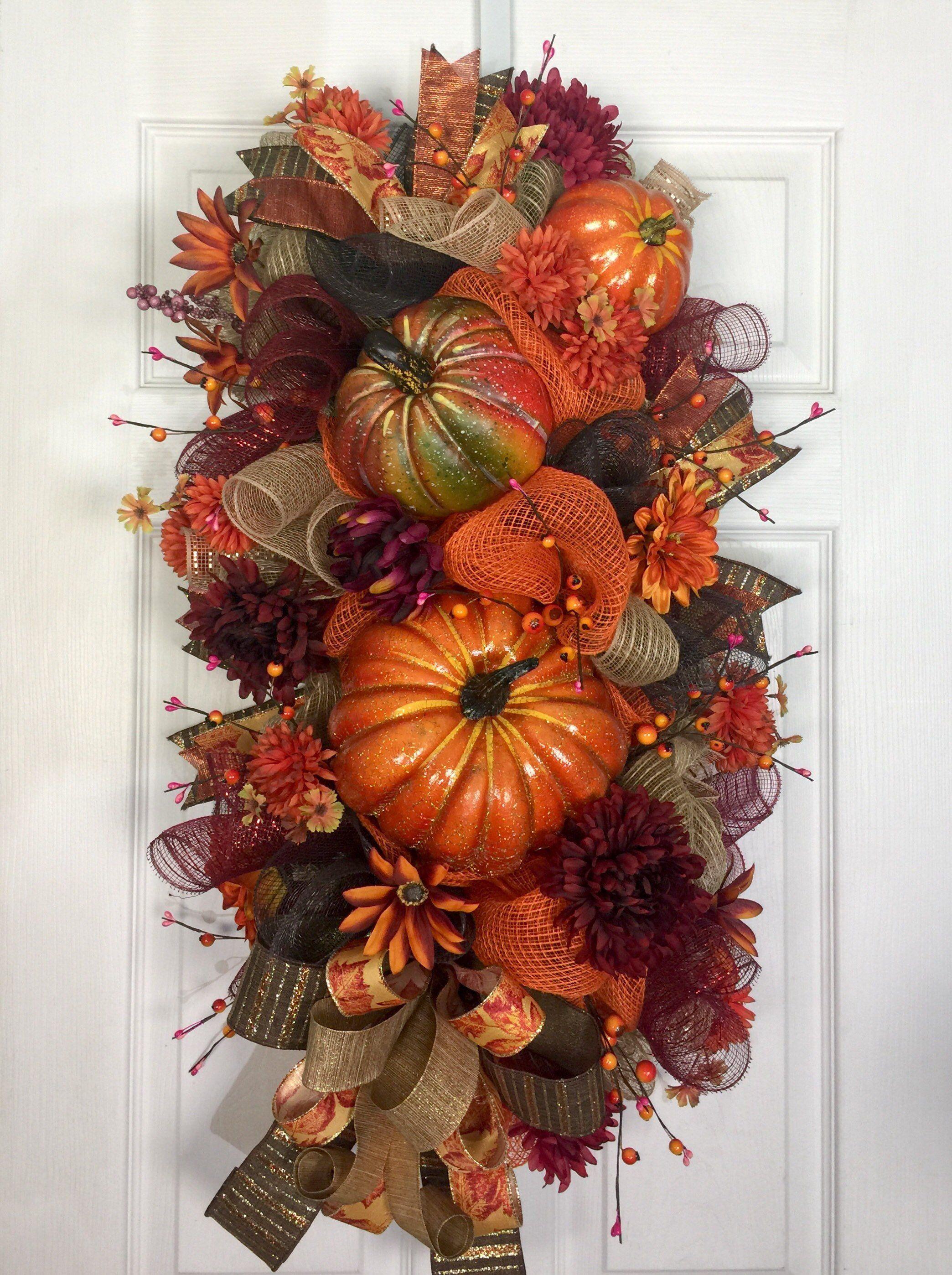 Fall Wreath Pumpkin Wreath Front Door Decor Fall Door Hanger Wreath With Pumpkins Harves Fall Decorations Porch Fall Halloween Decor Fall Deco Mesh Wreath