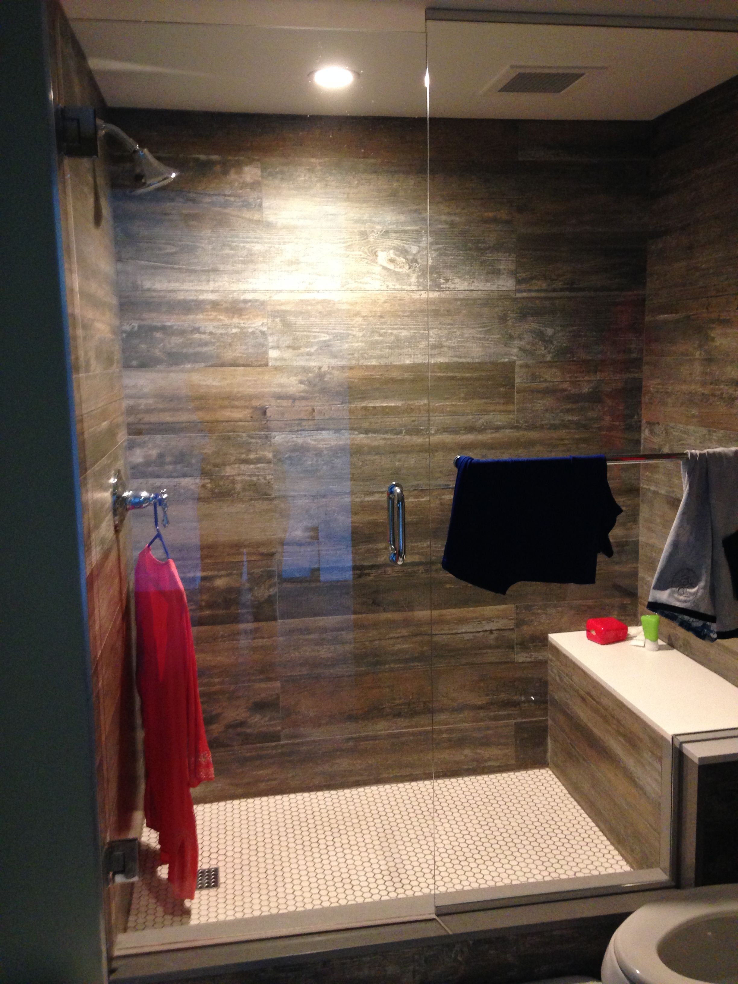 Wood Laminate Back Wall That Works In The Shower