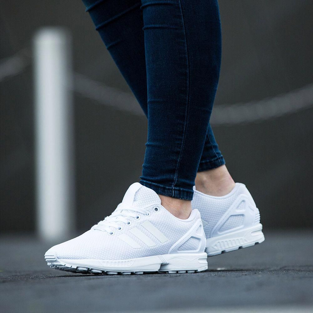 The Triple White Adidas Originals Womens Zx Flux Base Pack Trainer Available Online In Store Adidas Shoes Women Nike Shoes Women Mens Nike Shoes