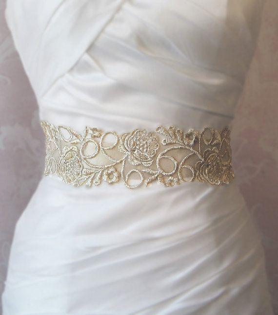 Champagne Gold Lace Bridal Sash, Wedding Gown Sash, Beaded Bridal ...