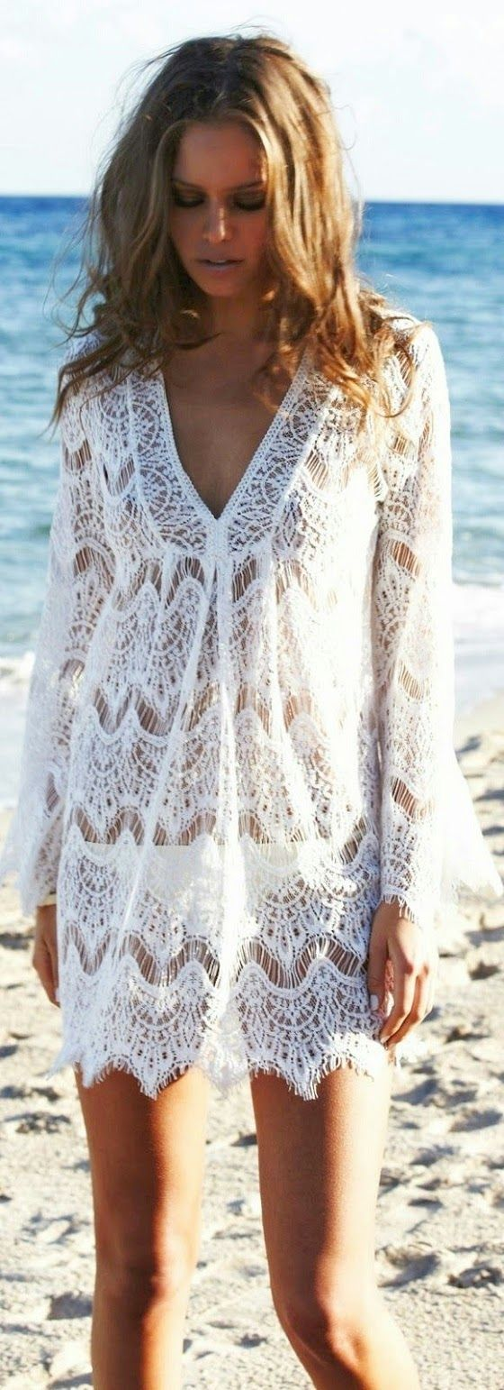 9f954b4d2ccbb A lacy white tunic goes over all of your swimsuits effortlessly! White Lace  Beach Cover Up ...