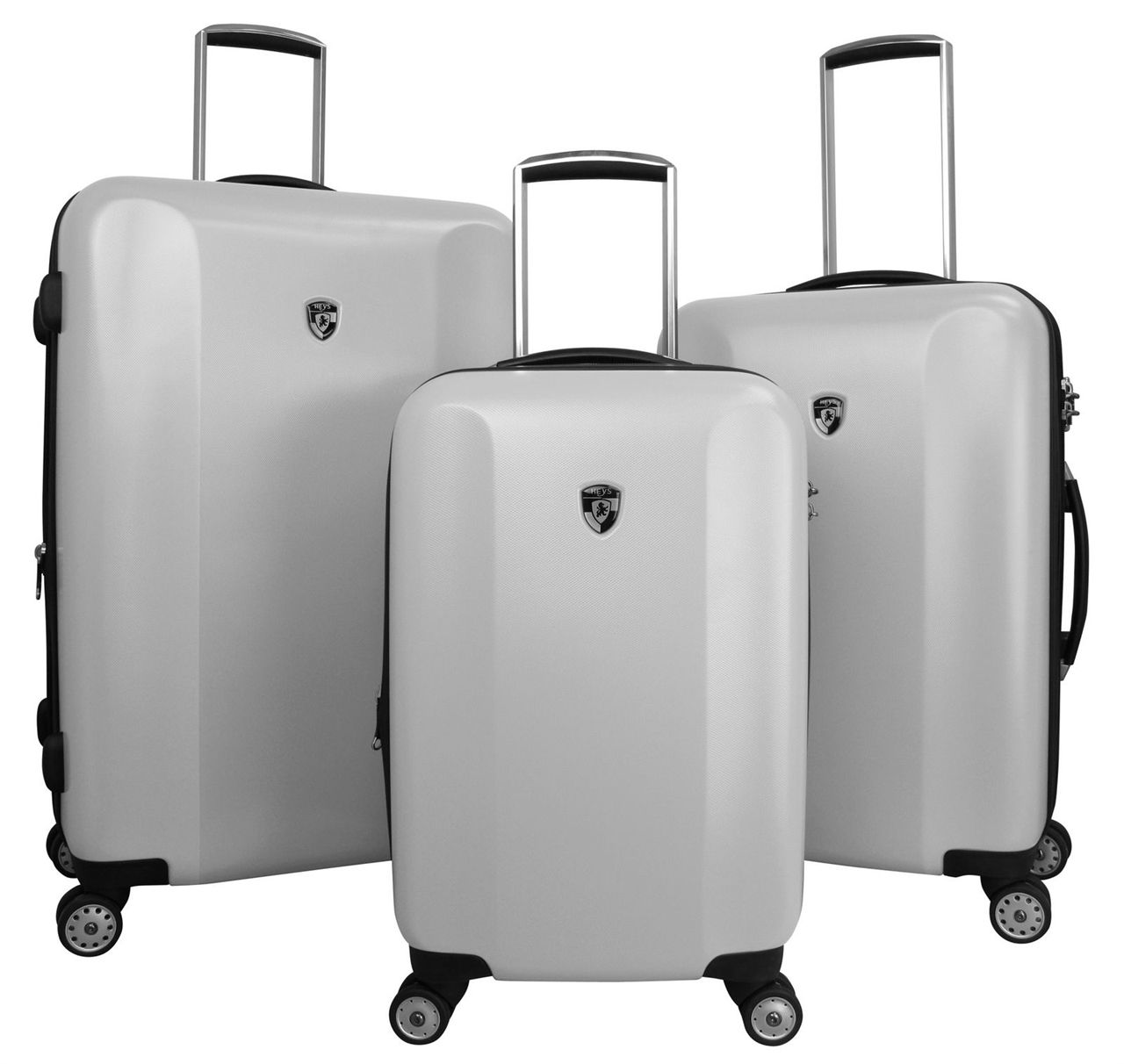 Show details for Heys USA Quad 3PC Hardside Luggage Set - Silver ...