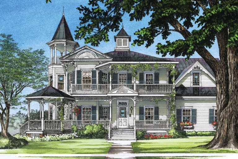 House Plan 7922 00093 Country Plan 3 131 Square Feet 4 Bedrooms 3 5 Bathrooms Victorian House Plans Turret House Plans Victorian Homes Exterior