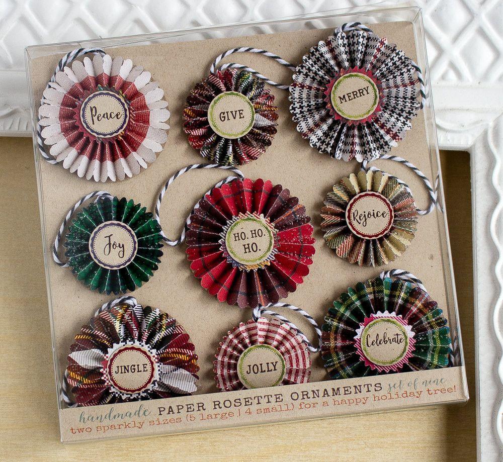 Handmade Paper Rosette Holiday Ornaments
