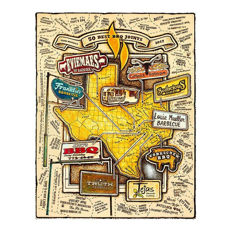 Texas Bbq Map Map of Texas Monthly 50 Best BBQ Joints | Bbq joint, Best bbq, Bbq