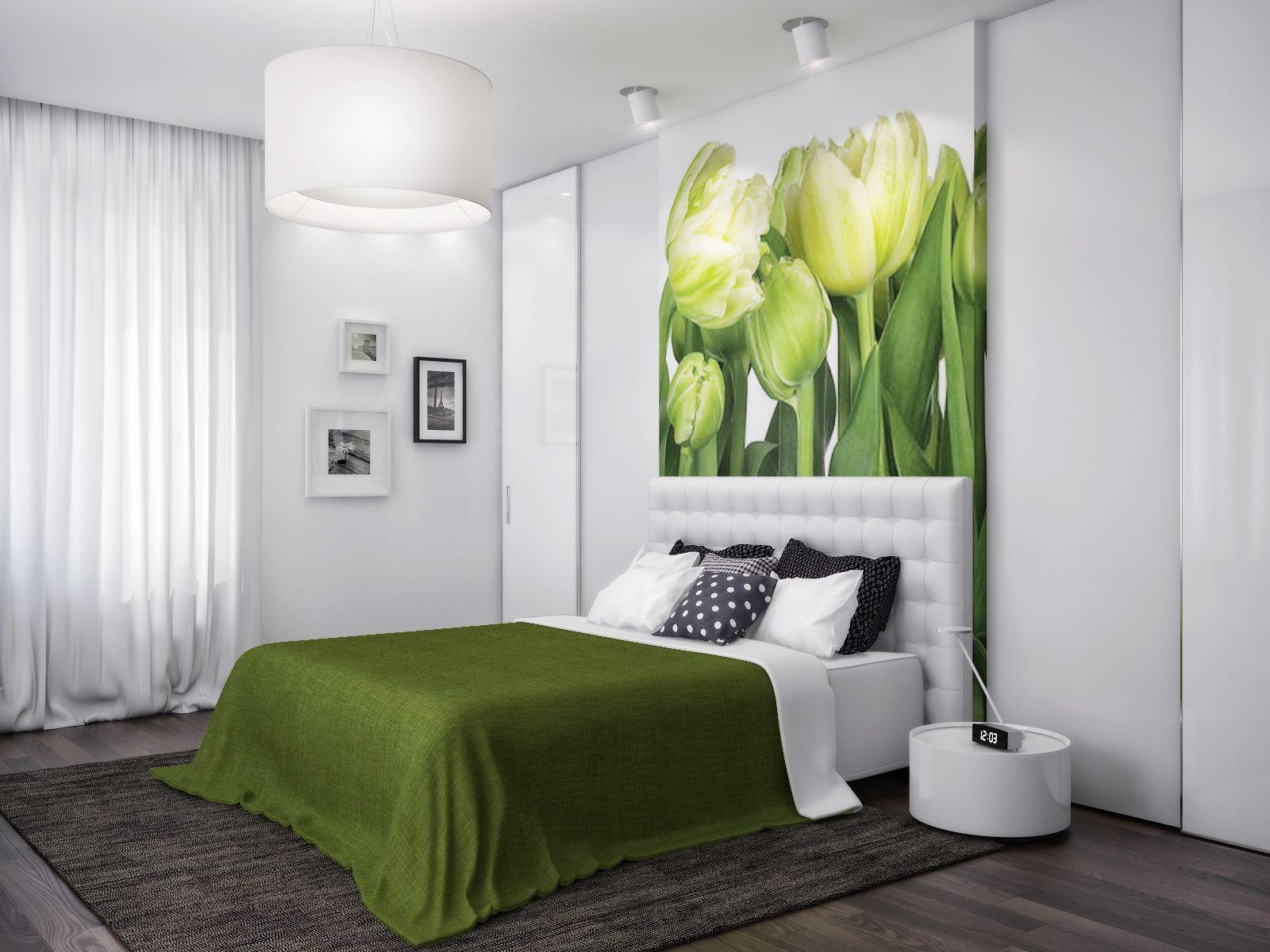 Modern Zoning In Ukrainian Apartment Green White Nature Bedroom Interior Design Ideas Green White Bedroom Bedroom Green Diy Bedroom Decor