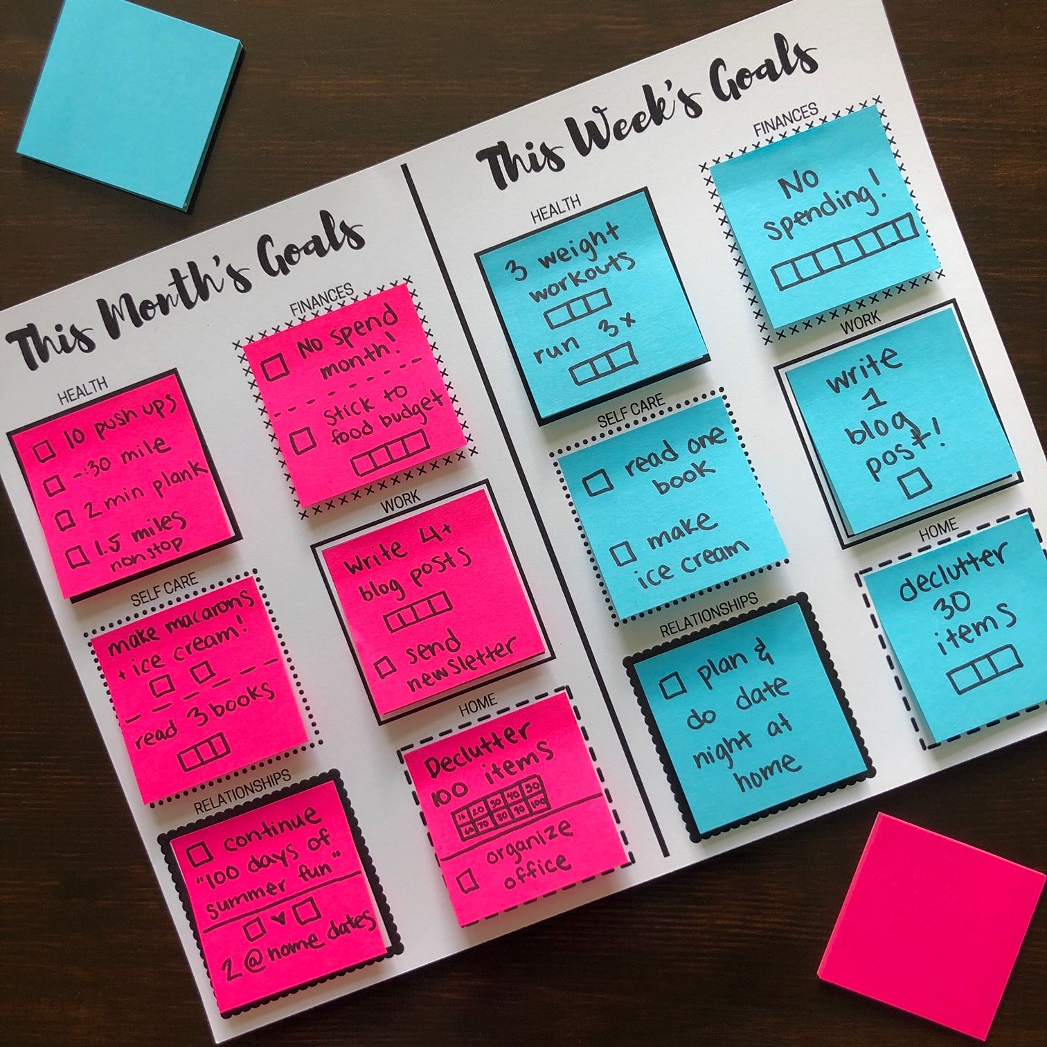Sticky Note Goal Setting Printables