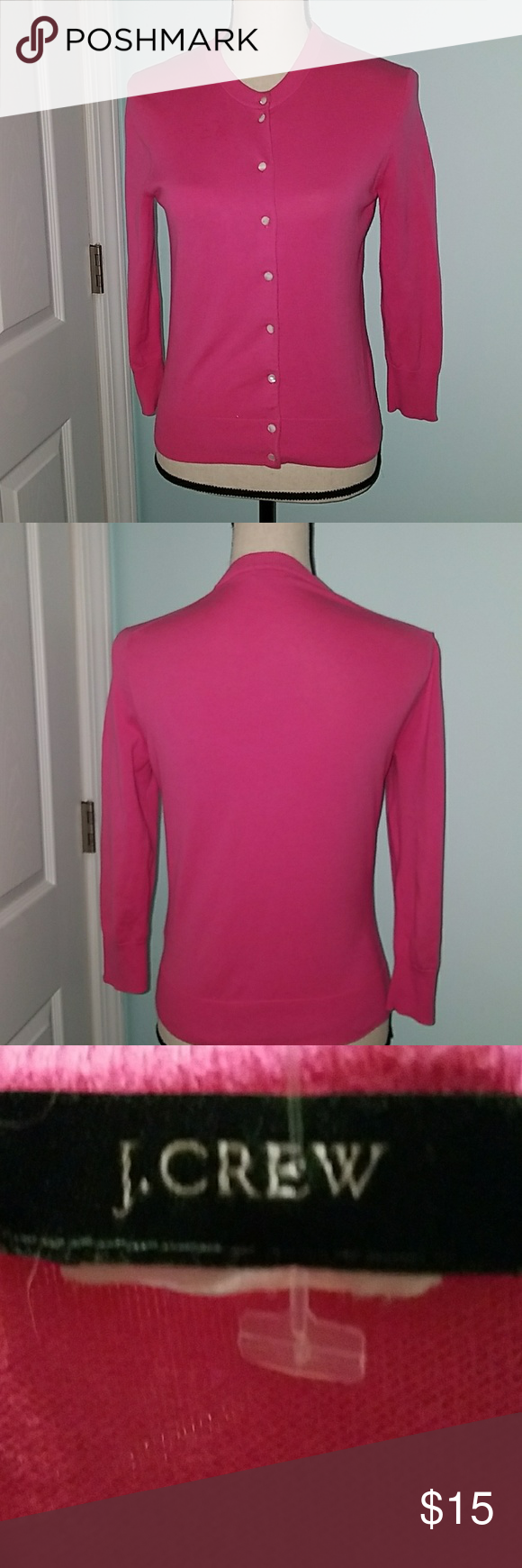 J. Crew cotton pink button up sweater