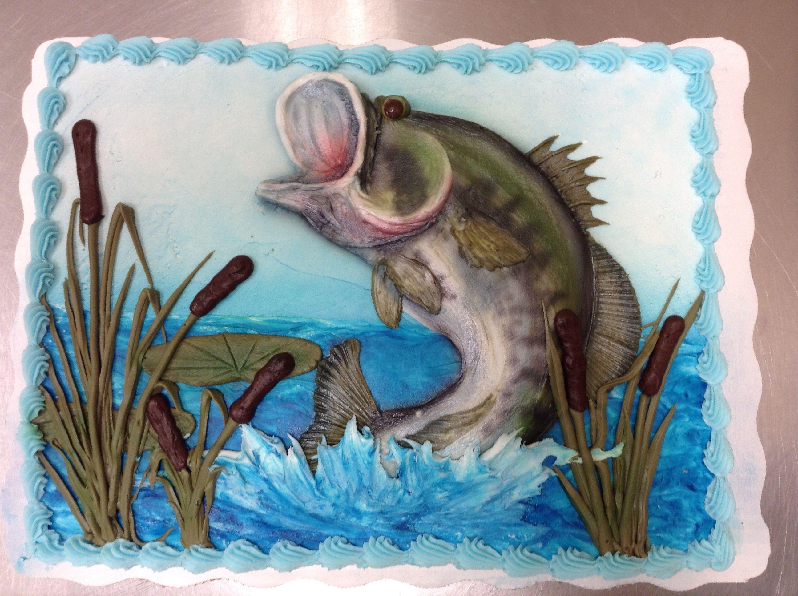 Bass Fishing Birthday Cake Piped Buttercream And Airbrush Fish Cake Birthday Dad Birthday Cakes Bass Fish Cake