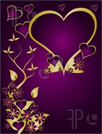 Hand Painted Original Art. Royal Purple and Gold Hearts Beautiful and Unique Love Note
