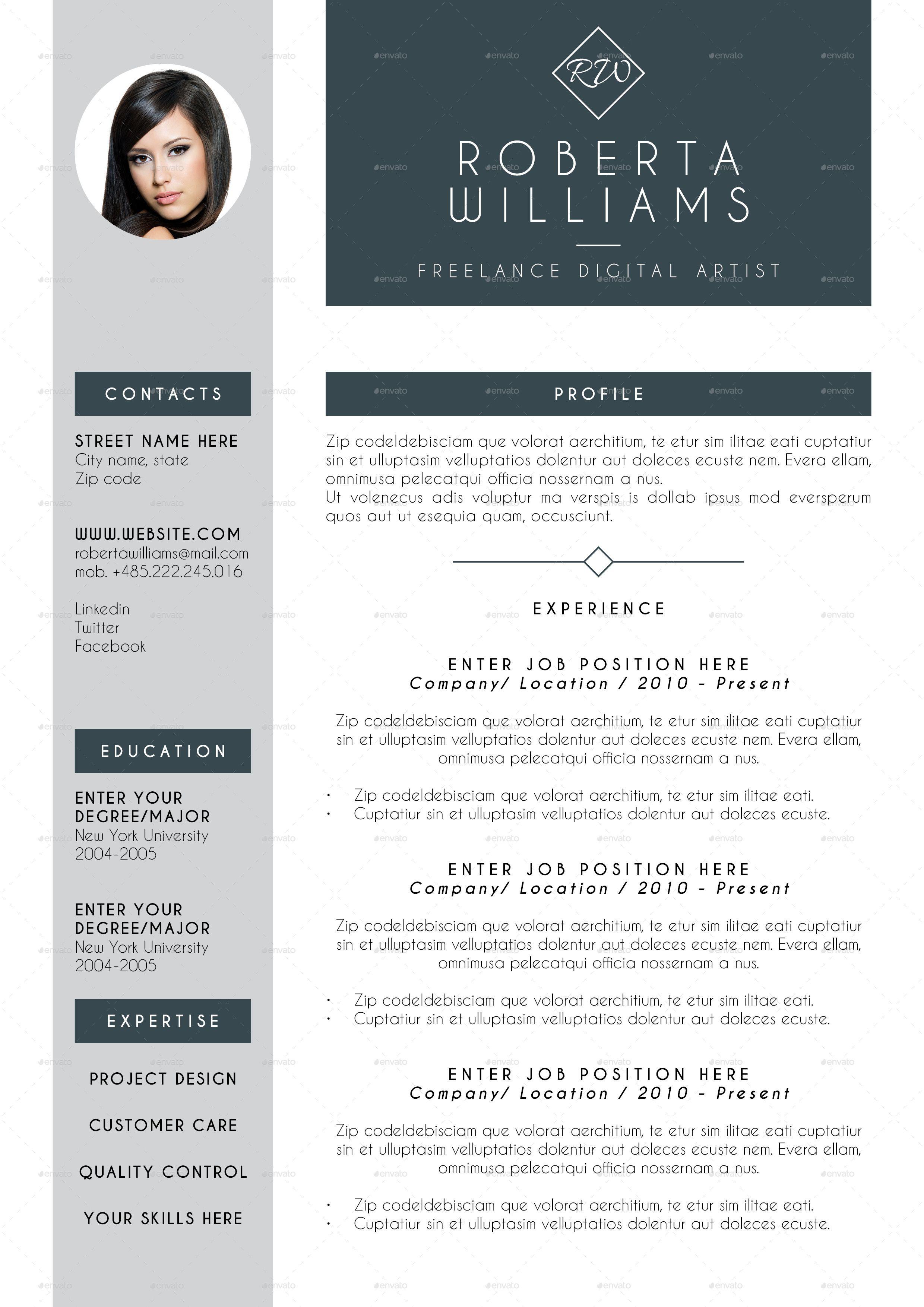 Professional Resume CV Indesign Template Indesign