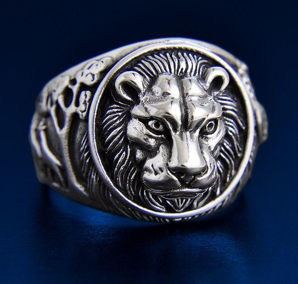 bague homme argent tete de lion