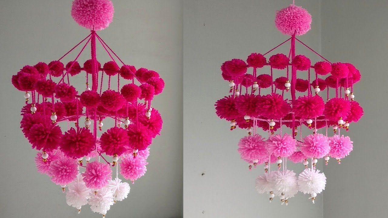 Diy Woolen Jhumar Wool Chandelier Wool Wind Chime Craft Idea Out