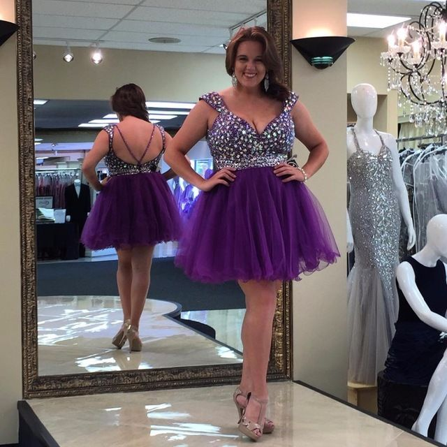 Plus Size Knee Length Homecoming Dresses 2016 Purple Tulle Sweetheart Cap Sleeves Crystals Short A-line Zipper Cocktail Dress