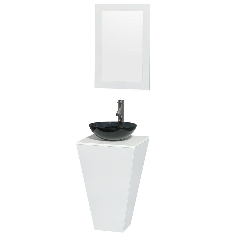 589 00 Esprit Pedestal Vanity In Glossy White With Solid Top Glass Sink And 20 Inch Mirror Glass Sink Single Sink Bathroom Vanity Bathroom Sink Vanity