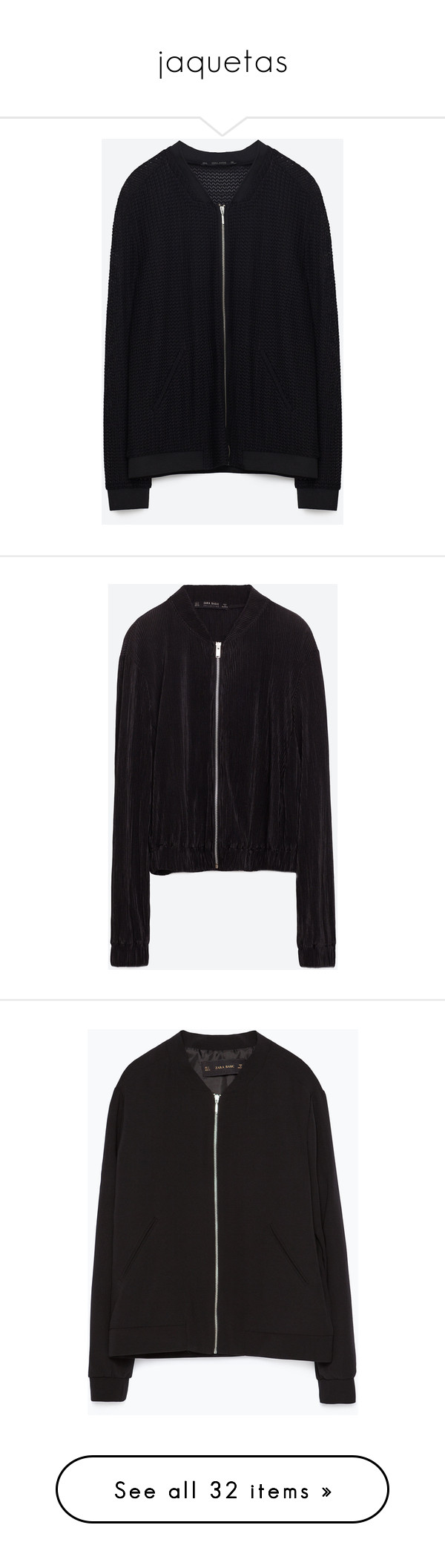 """jaquetas"" by paradapermitida on Polyvore featuring outerwear, jackets, zara, bomber style jacket, bomber jackets, pleated jacket, blouson jacket, flight jackets, black e zip up jackets"