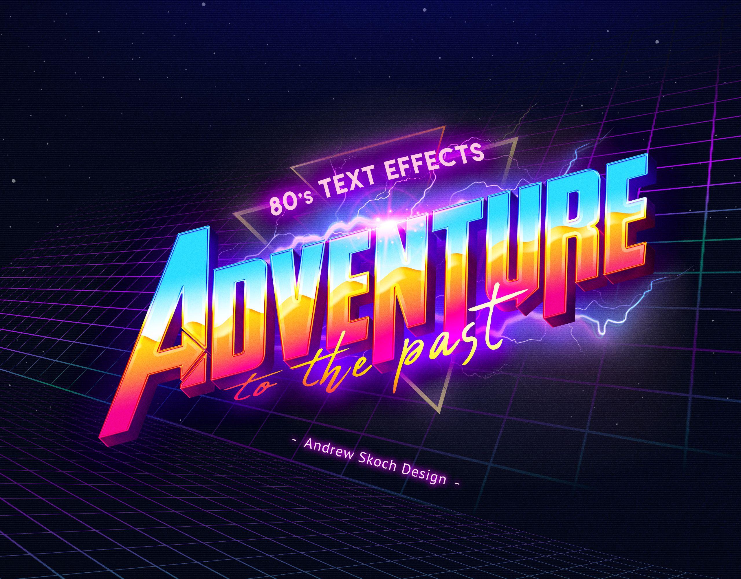 80s Retro Text Effects vol 2 #80s #80's #type #retro